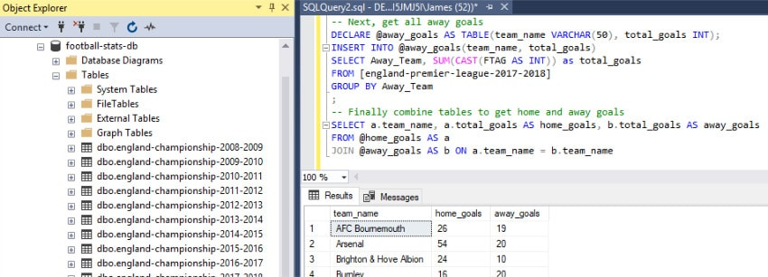 Using SQL Server with Football Data | Bet on James