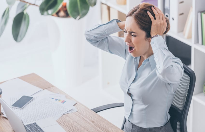 paper trading stressed out woman
