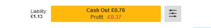 betfair trading example of cash out button